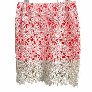 NWT ALTAR'D STATE Women Cream & Pink Lace Skirt Lg